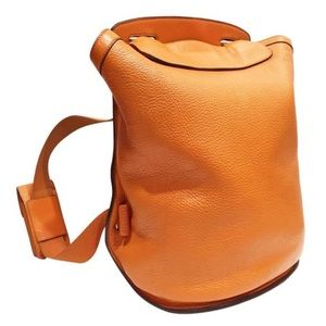 Hermes Orange Clemence Leather Sherpa GM Backpack